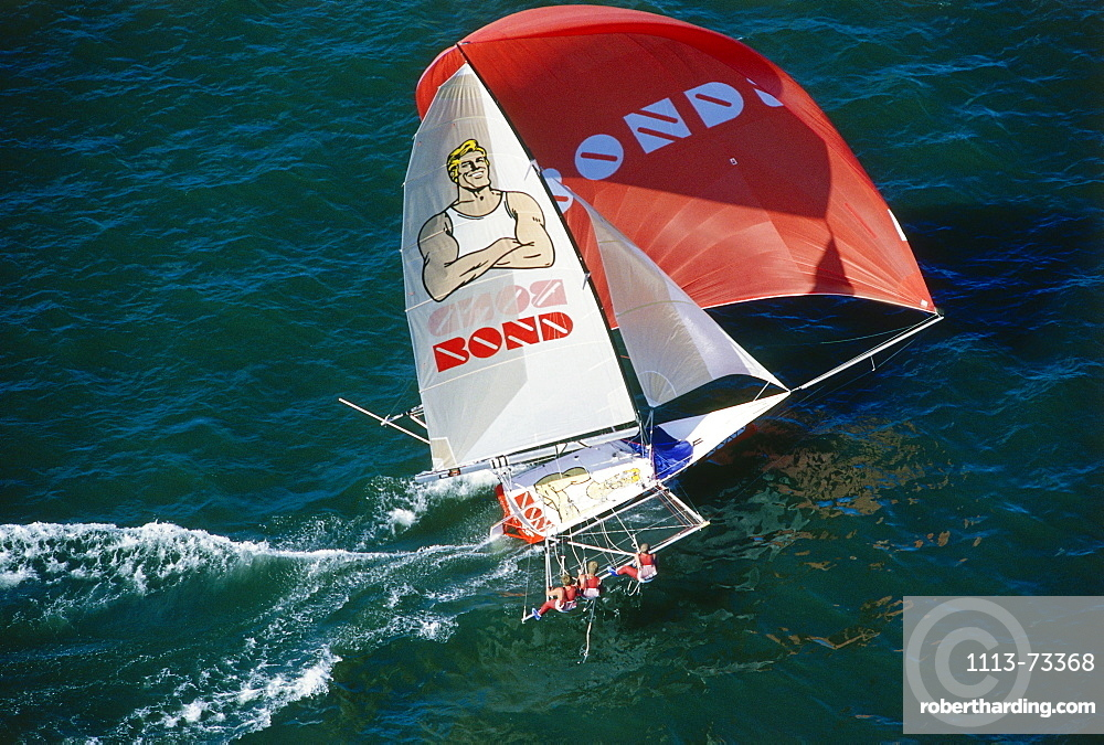Aerial shot of a sailing boat, Sport