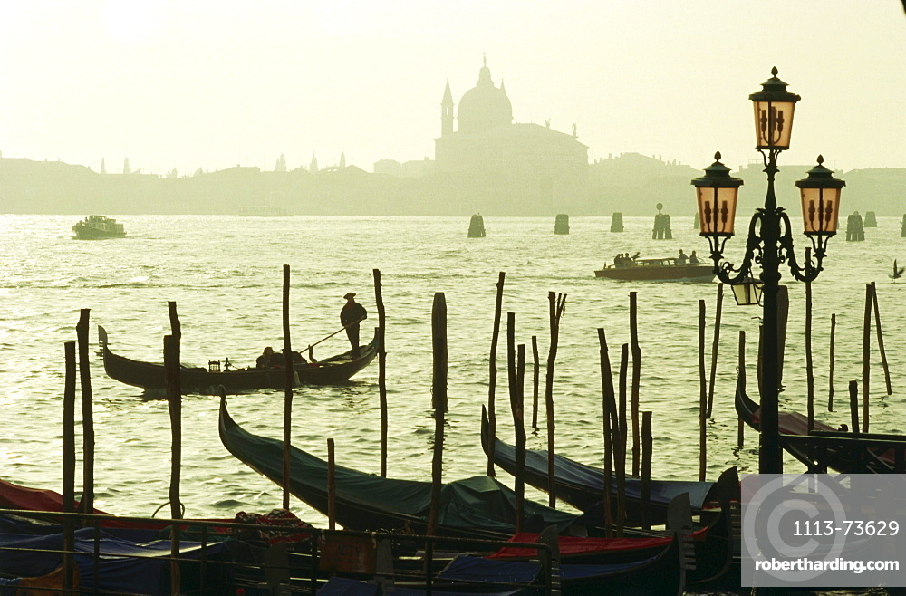 Gondolas on the canal in the evening, Venice, Italy