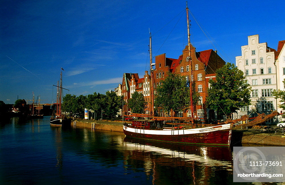 Trave City and museum harbour, Luebeck, Schleswig-Holstein, Germany, Europe