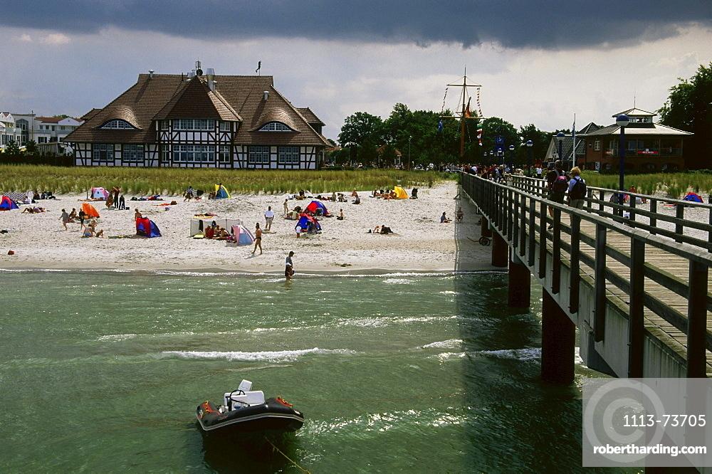 Jetty at beach, Zingst, Mecklenburg-Western Pomerania, Germany