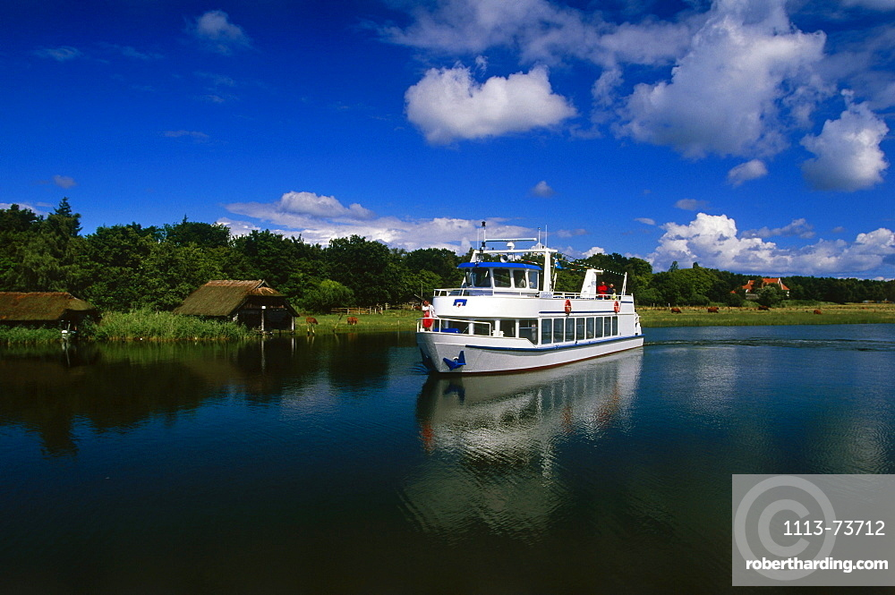 Excursion boat, Prerow, Darss, Mecklenburg-Western Pomerania, Germany