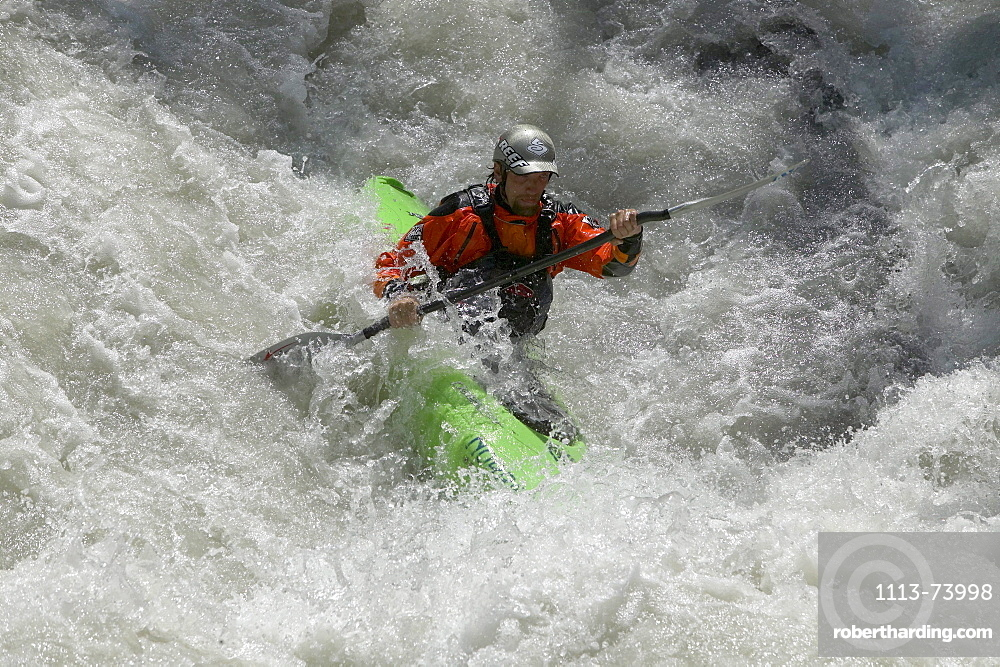 Man, Kajaker, Creek, Wildwater, Lauterbrunnen, Grisons, Switzerland