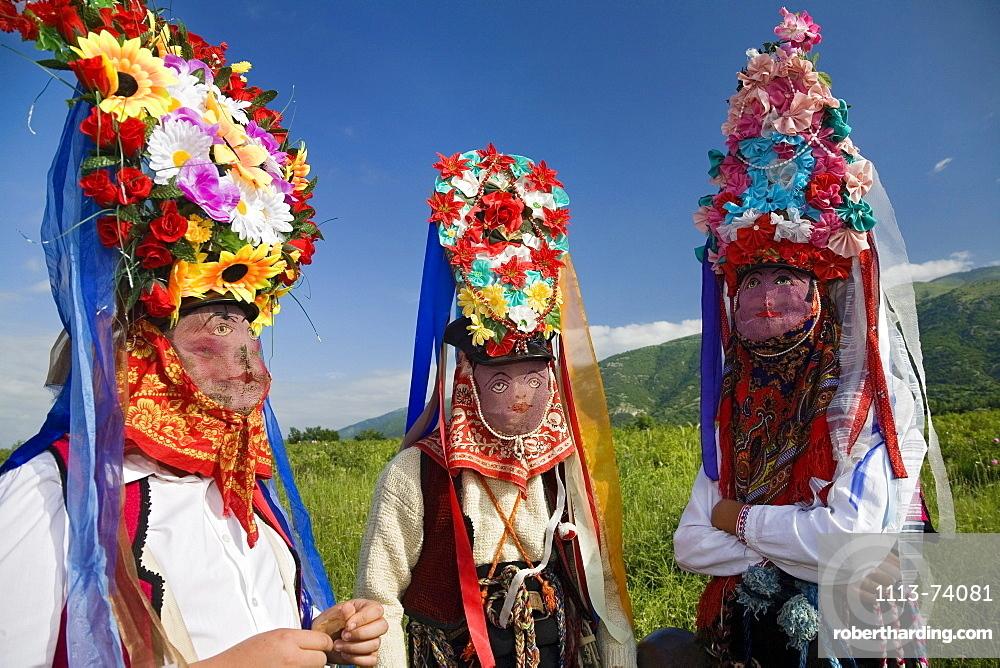 Rose Festival, men with masks, Karlovo, Bulgaria