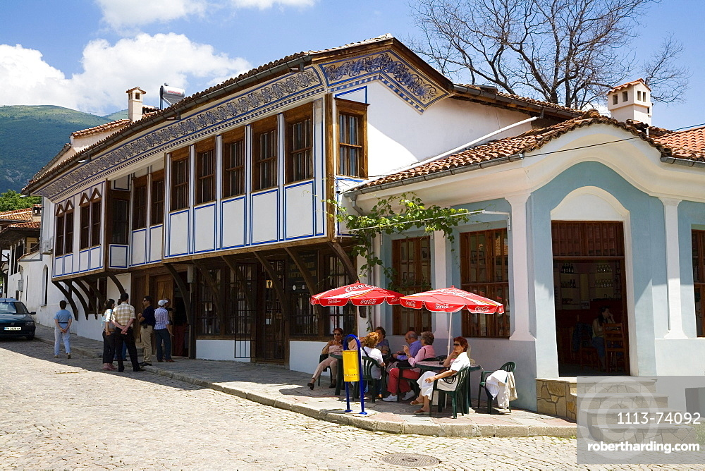 Rose Festival, People in front of roseoil museum in Karlovo, Bulgaria, Europe