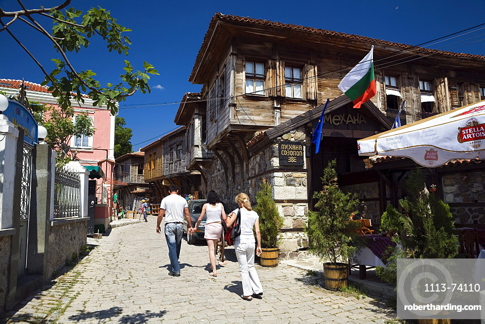 People in an alley at Sosopol, Black Sea, Bulgaria, Europe