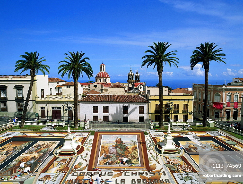 Soil tapestry, coloured volcanic soil from the Teide National Park, Religious festival of Corpus, Plaza del Ayuntamento, town square, La Orotava, Tenerife, Canary Islands, Atlantic Ocean, Spain