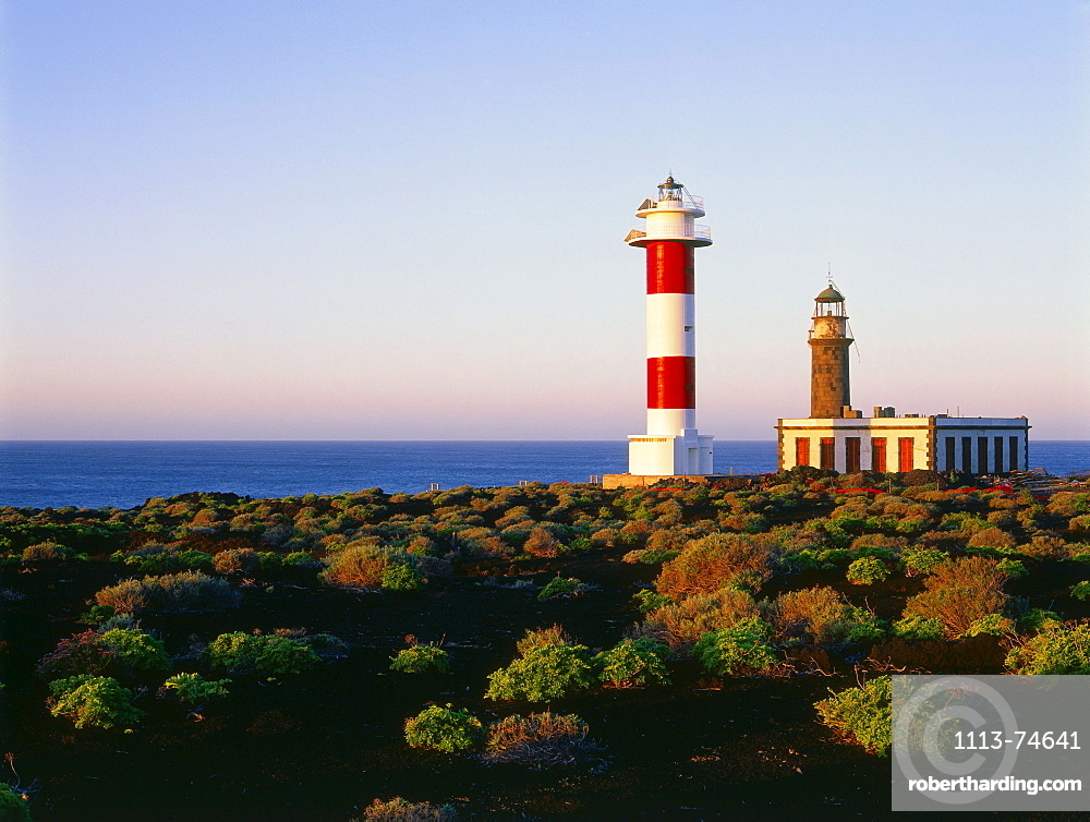 Old and new lighthouse of Fuencaliente, La Palma, Canary Islands, Atlantic Ocean, Spain