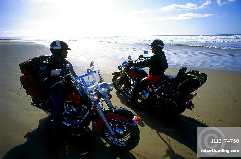 Pismo Beach, meeting point for motobikes, Highway 1, San Luis Opisbo, California, USA