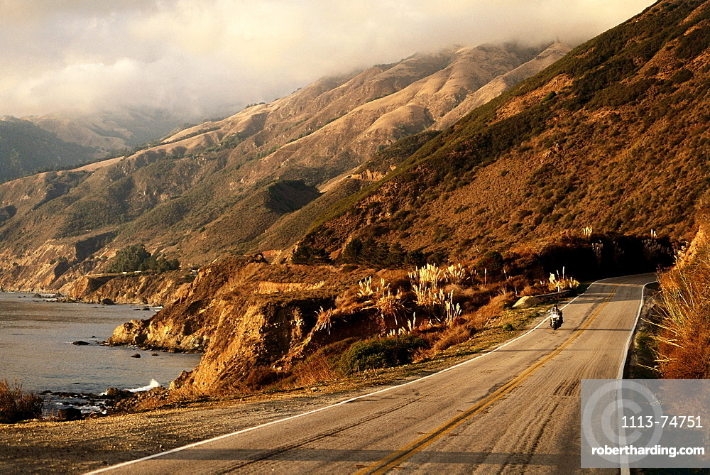 Harley Davidson Heritage Softail, Highway 1 south of Ludica, Santa Lucia Range, California, USA