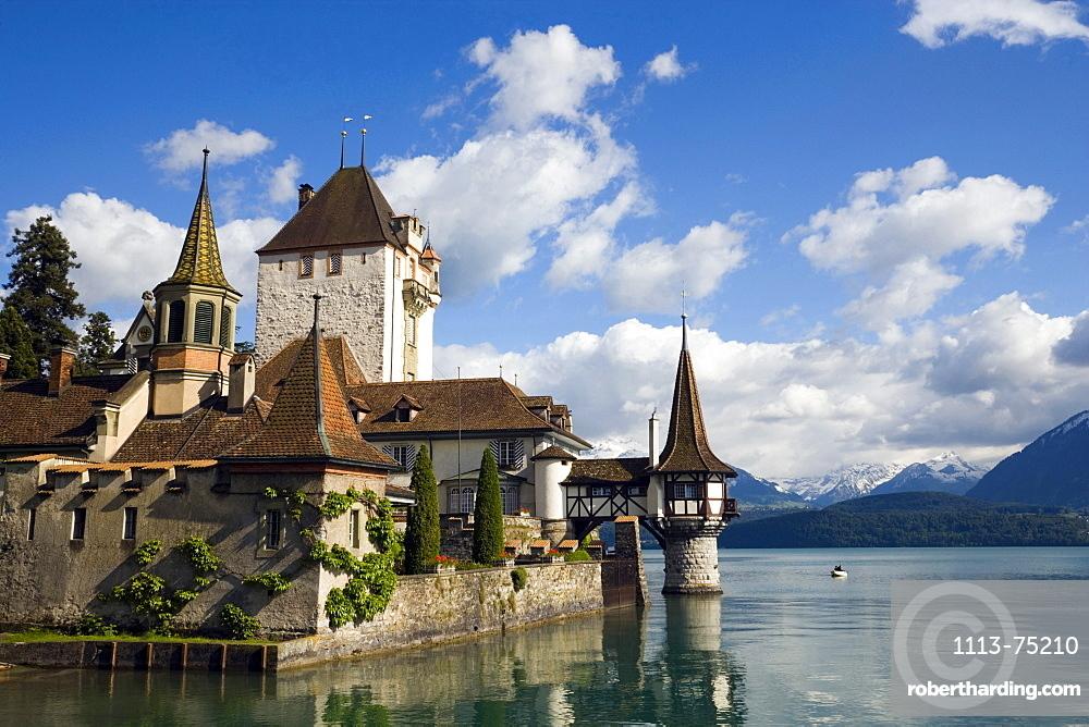 Castle Oberhofen at Lake Thun, Oberhofen, Bernese Oberland (highlands), Canton of Bern, Switzerland