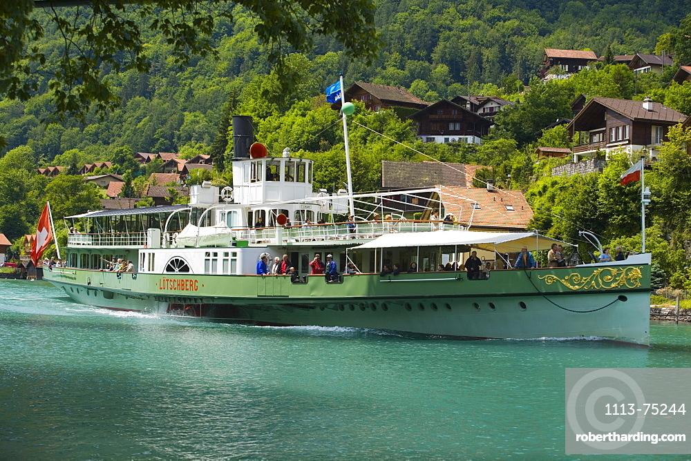 Steamer DS Loetschberg on River Aare on the way to Lake Brienz, Interlaken, Bernese Oberland (highlands), Canton of Bern, Switzerland