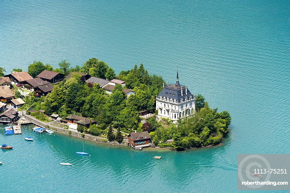 View on Iseltwald, Lake Brienz, Bernese Oberland (highlands), Canton of Bern, Switzerland