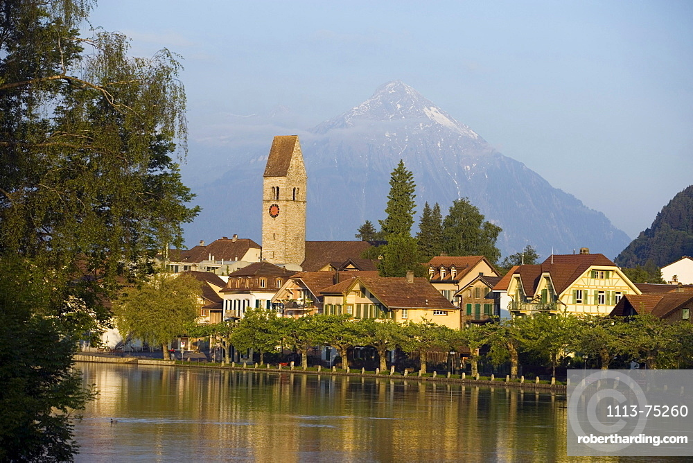 View over river Aare to Unterseen (the highest town on the Aare), Interlaken, Bernese Oberland (highlands), Canton of Bern, Switzerland
