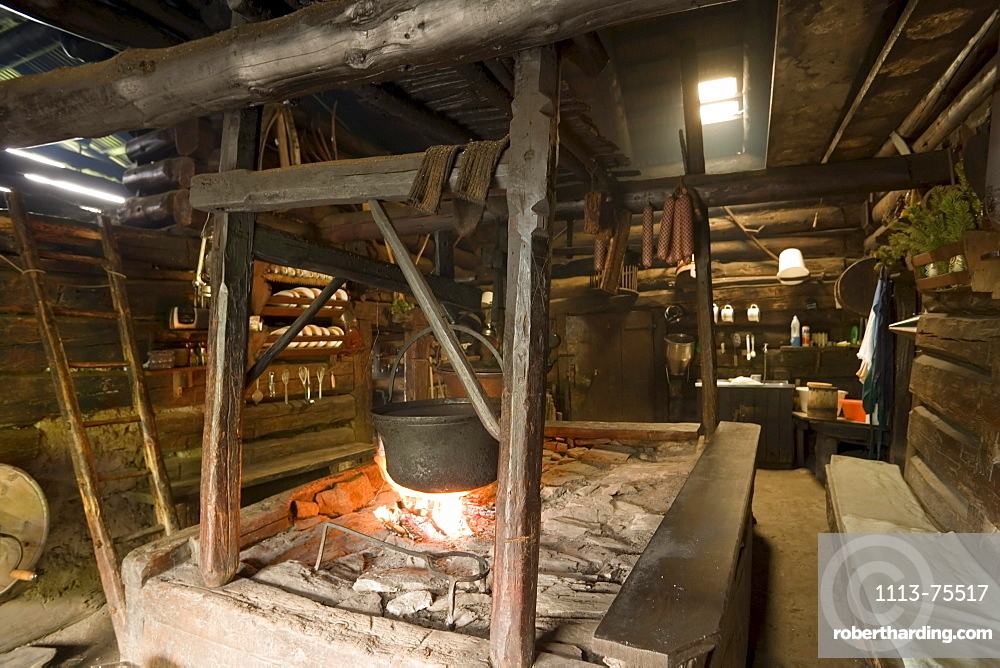 Open fireplace, which is still used daily, Karseggalm (1603 m, one of the oldest mountain hut in the valley), Grossarl Valley, Salzburg, Austria