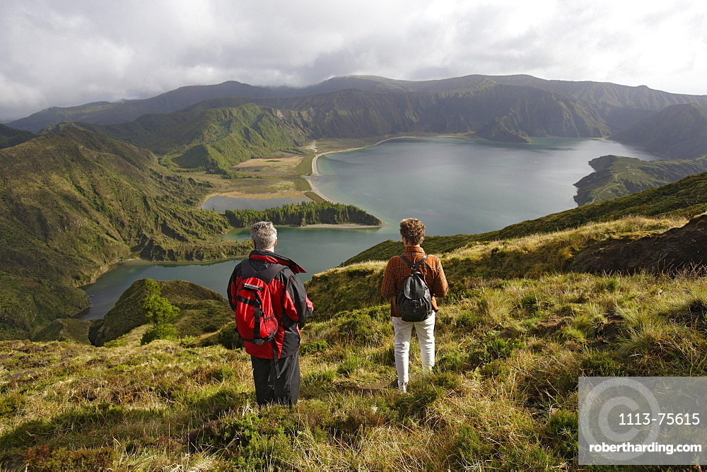 Hikers on Lagoa do Fogo, Azores, Portugal