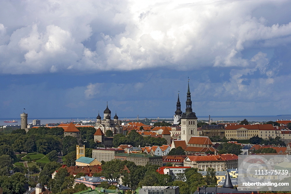 View over the old town of Tallinn. From the left to the right: Langer Hermann-tower, Alexander-Newski-Cathedral, Olaichurch and Nikolaichurch, Tallinn, Estonia