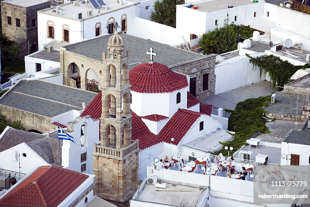 Elevated view of Panagia church, built by the Knights in the 14th century, Lindos, Rhodes, Greece