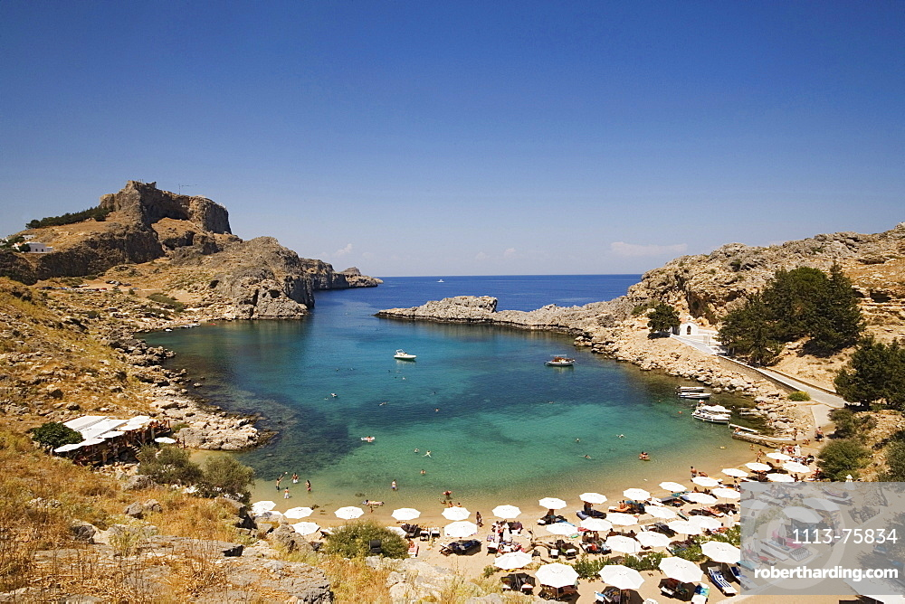Elevated view of beach at Saint Paul's Bay (Agios Pavlos), Lindos, Rhodes, Greece