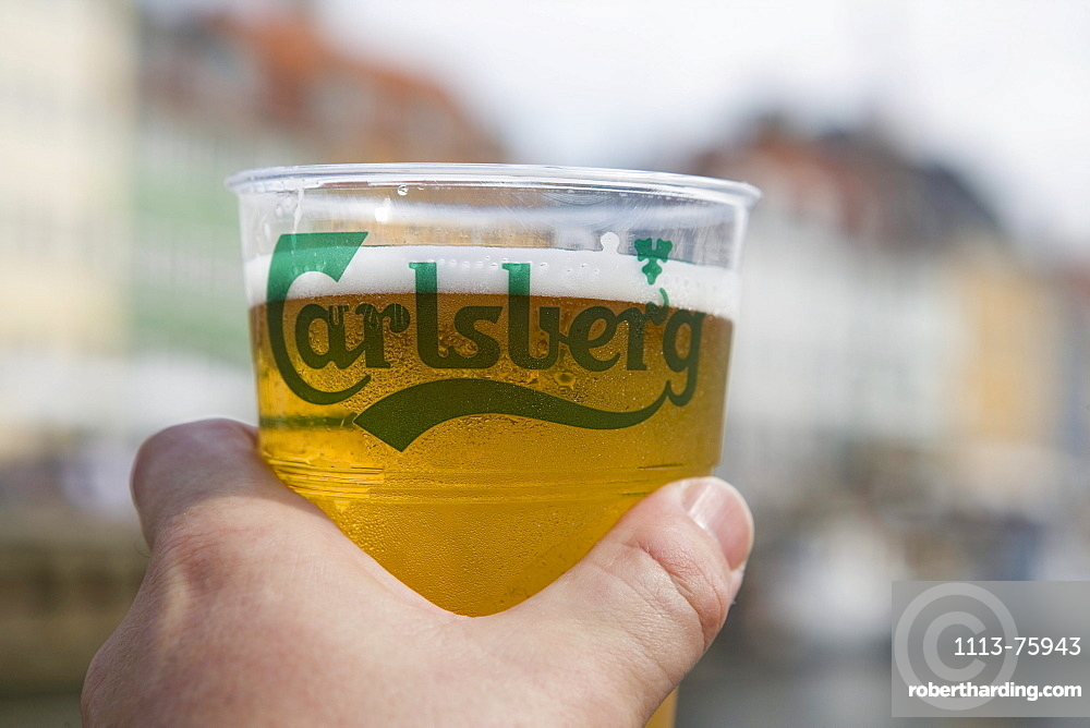 Cold Carlsberg in Hand, Aboard DFDS Canal Tour Sightseeing Boat, Nyhavn, Copenhagen, Denmark