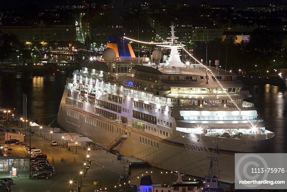 Illuminated MS Europa in Stockholm, Stockholm, Sweden
