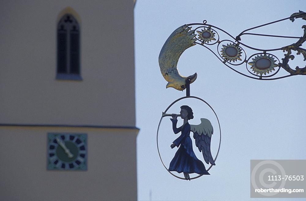 Herbertingen, restaurant sign with angel, Baden-Wuerttemberg, Germany, Europe