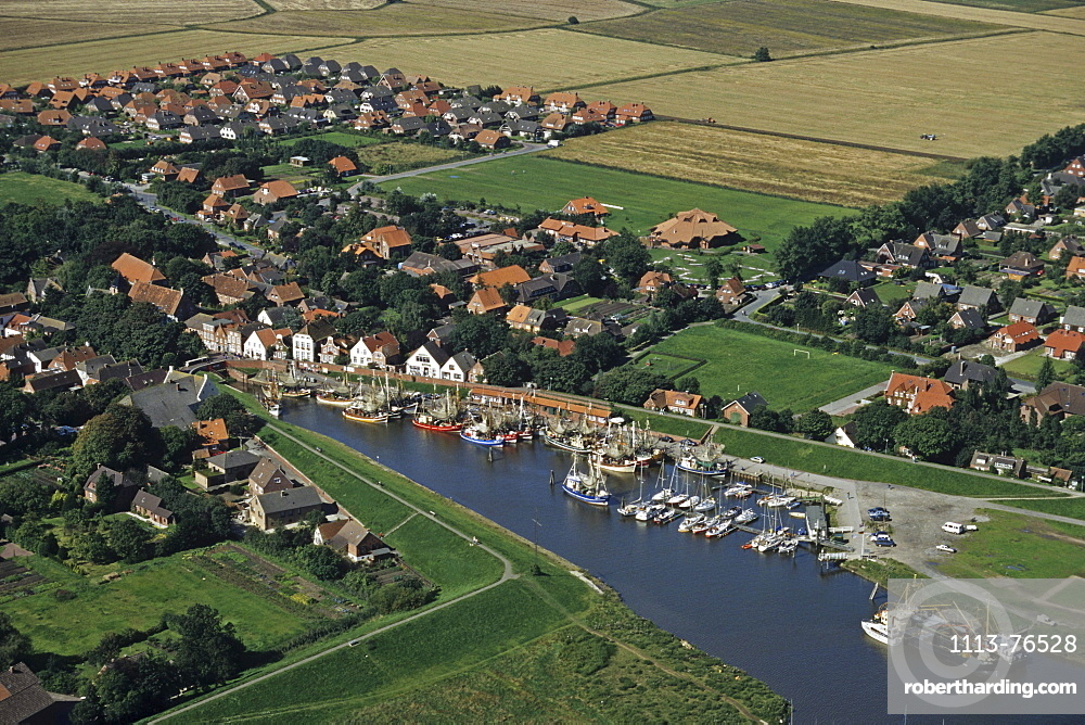 aerial photo of small port of Greetsiel on the river Leybucht in East Frisia, prawn boats, Lower Saxony, northern Germany