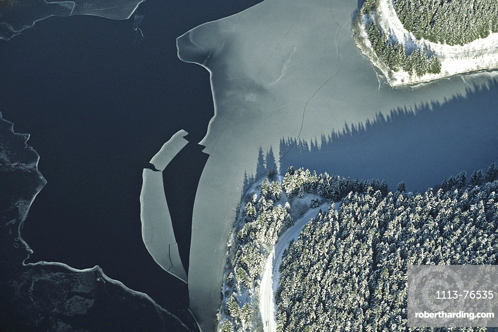aerial photo of the Oker reservoir in the Harz mountains, Lower Saxony, northern Germany