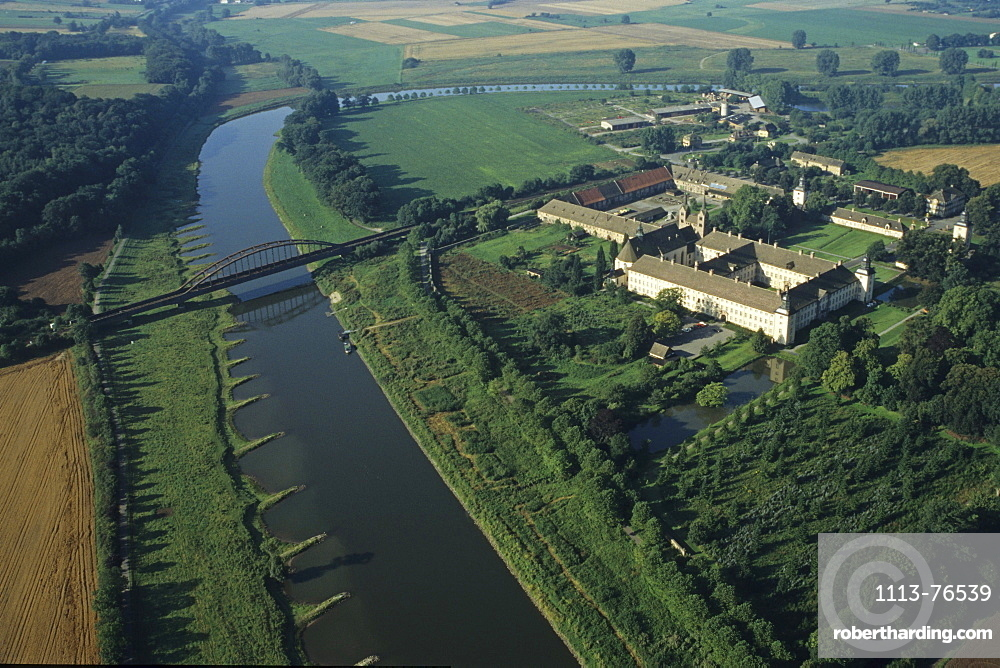 aerial photo of Corvey Castle, Weserbergland, Lower Saxony, northern Germany