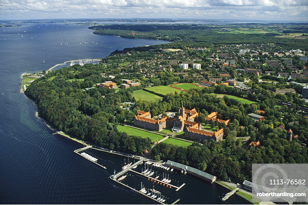 aerial photo, Flensburg Castle, Flensburg Bay, Baltic Sea, Schleswig Holstein, northern Germany
