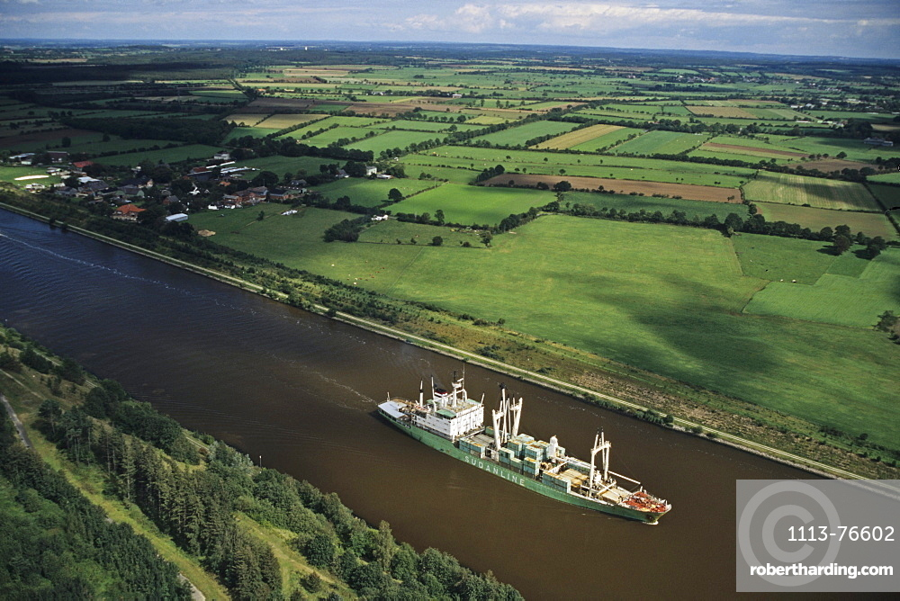 aerial photo of Kiel Canal, container ship, Baltic Sea, Schleswig Holstein, northern Germany