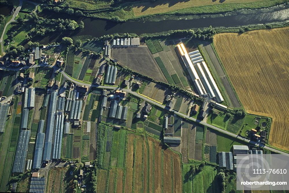 aerial photo, market gardens, vegetables, Vierlande, Hamburg, northern Germany