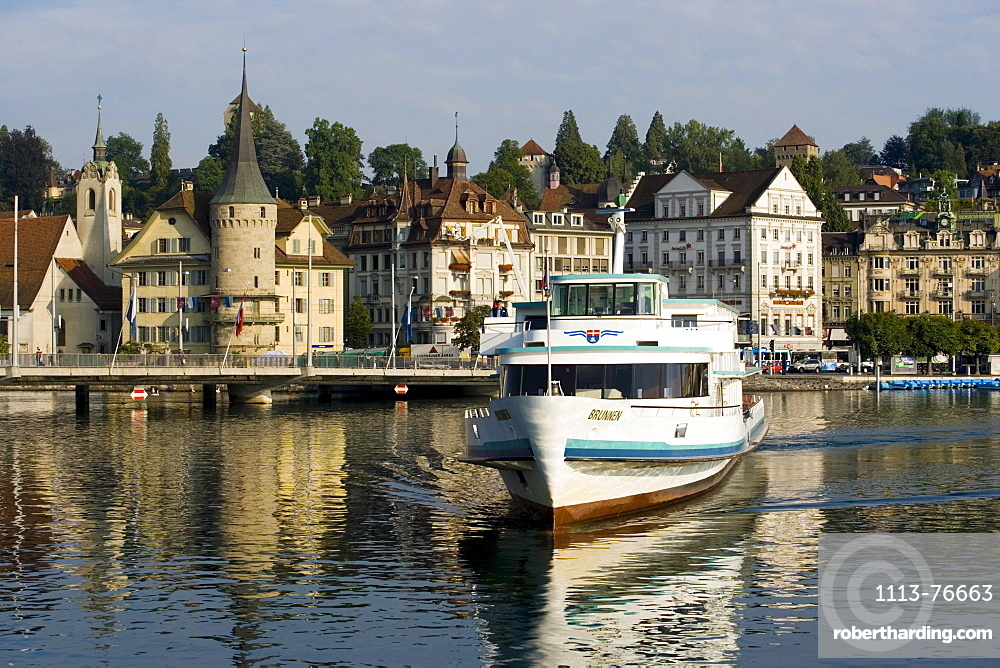 MS Brunnen on Lake Lucerne, Lucerne in background, Lucerne, Canton of Lucerne, Switzerland
