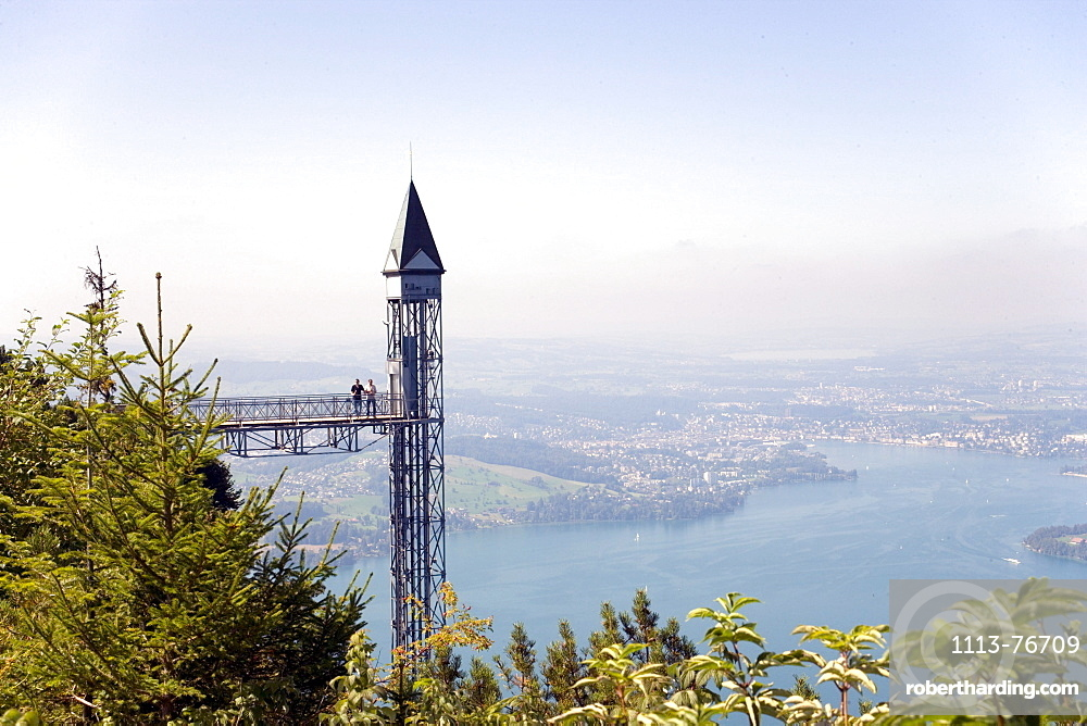 Hammetschwand Elevator (153 m, highest exterior elevator of Europe), Buergenstock (1128 m), Buergenstock, Canton Nidwalden, Switzerland