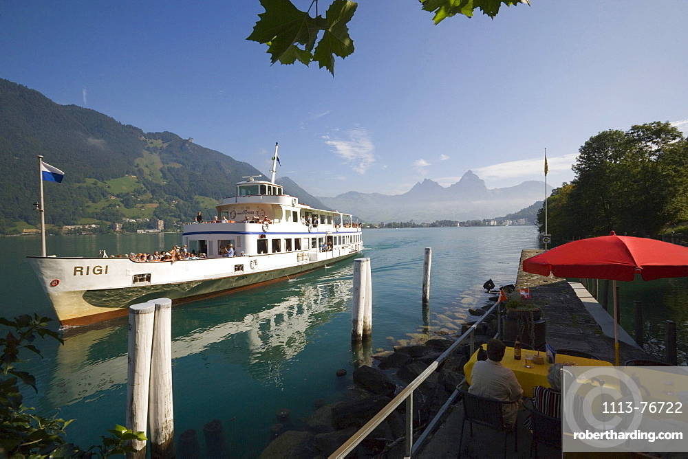 Excursion boat on lake Lucerne, Treib, Canton of Uri, Switzerland