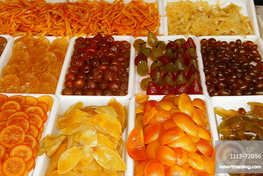 France, Nice, Cours Saleya, market stall with crystallised fruit