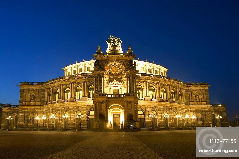 Dresden, theatre square, semper opera house, at twilight