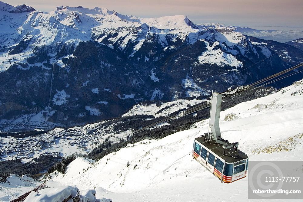 Switzerland bernese alps Wengen in winter
