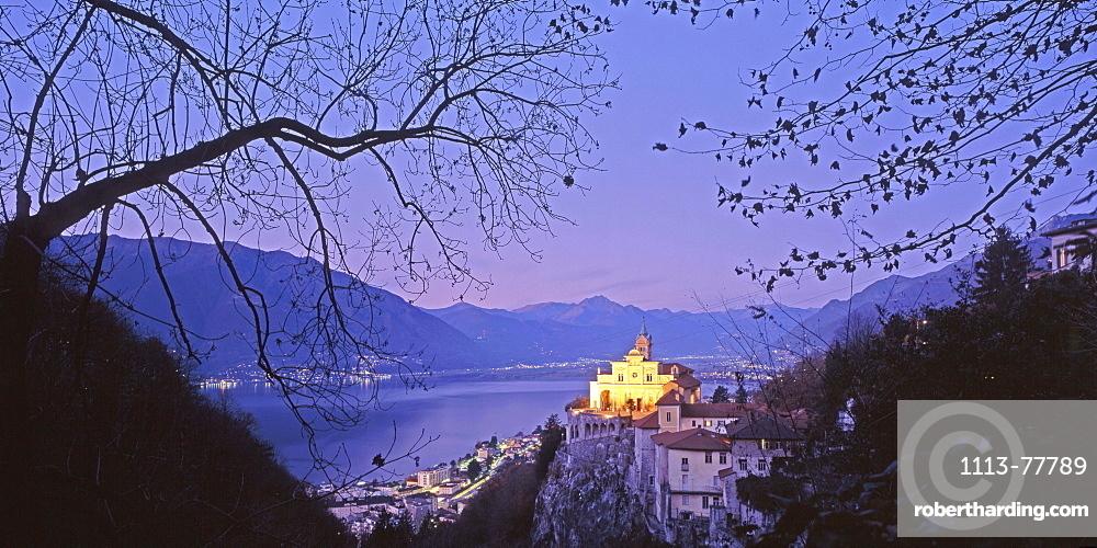 Switzerland, Ticino, Locarno, Lago Maggiore, church Madonna l Sasso, dusk