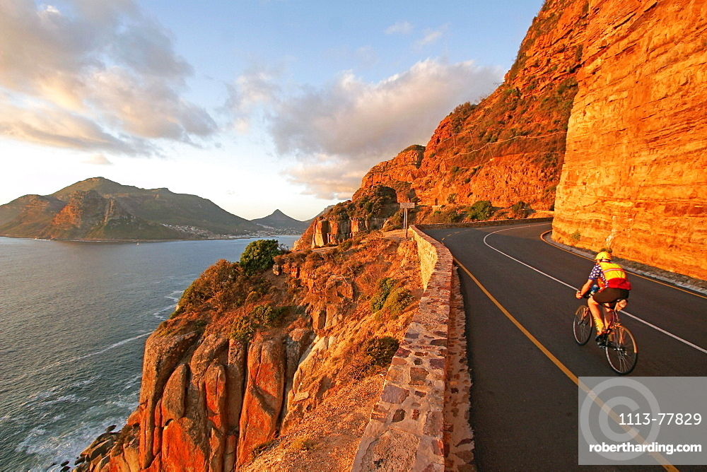 Person on bicycle, Chapmans Peak, Cape Peninsula, South Africa
