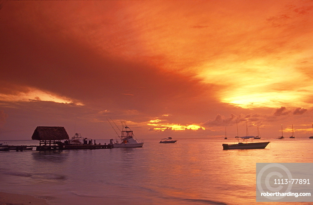 sunset, caribbean sea