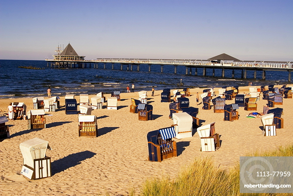 Usedom, Heringsdorf, beach chairs, wind shelter