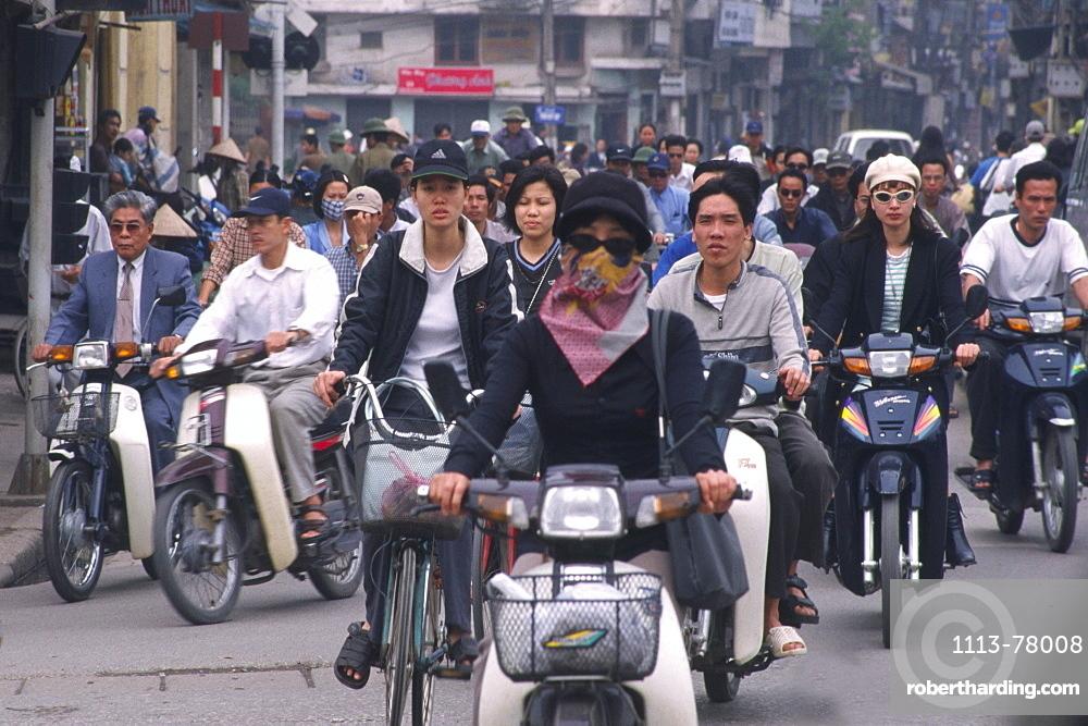 Motorbikers, rush hour, Hanoi, Vietnam