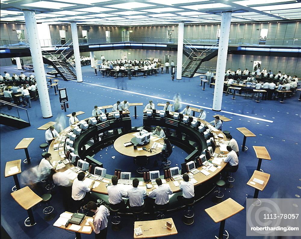 Switzerland, Zuerich, stock exchange, broker, interieur