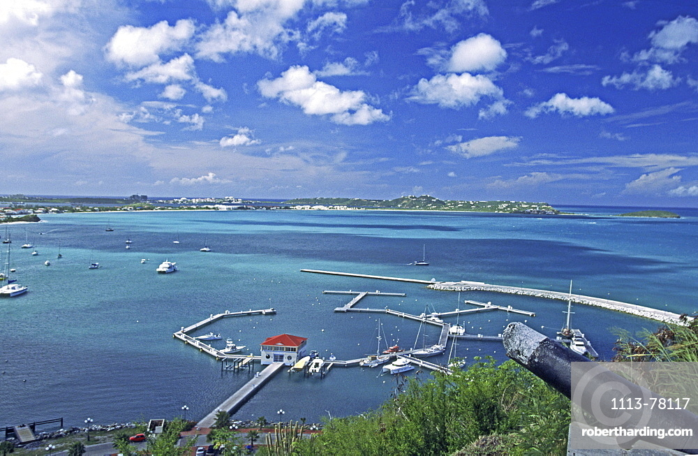 Marigot, Saint Martin, French West Indies, panoramic view from Fort