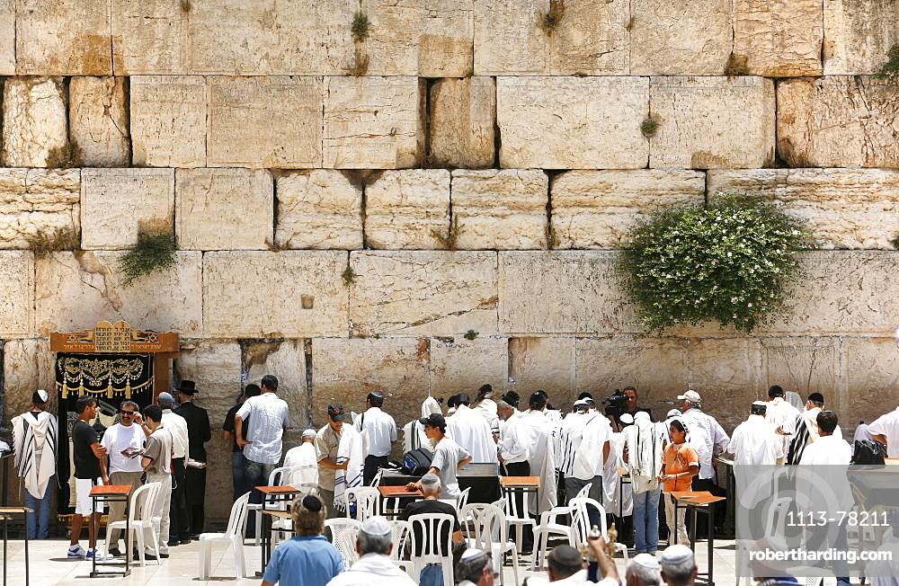 People praying at the Wailing Wall, Jerusalem, Israel