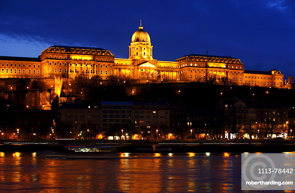 View of Buda Castle at night, Budapest, Hungary