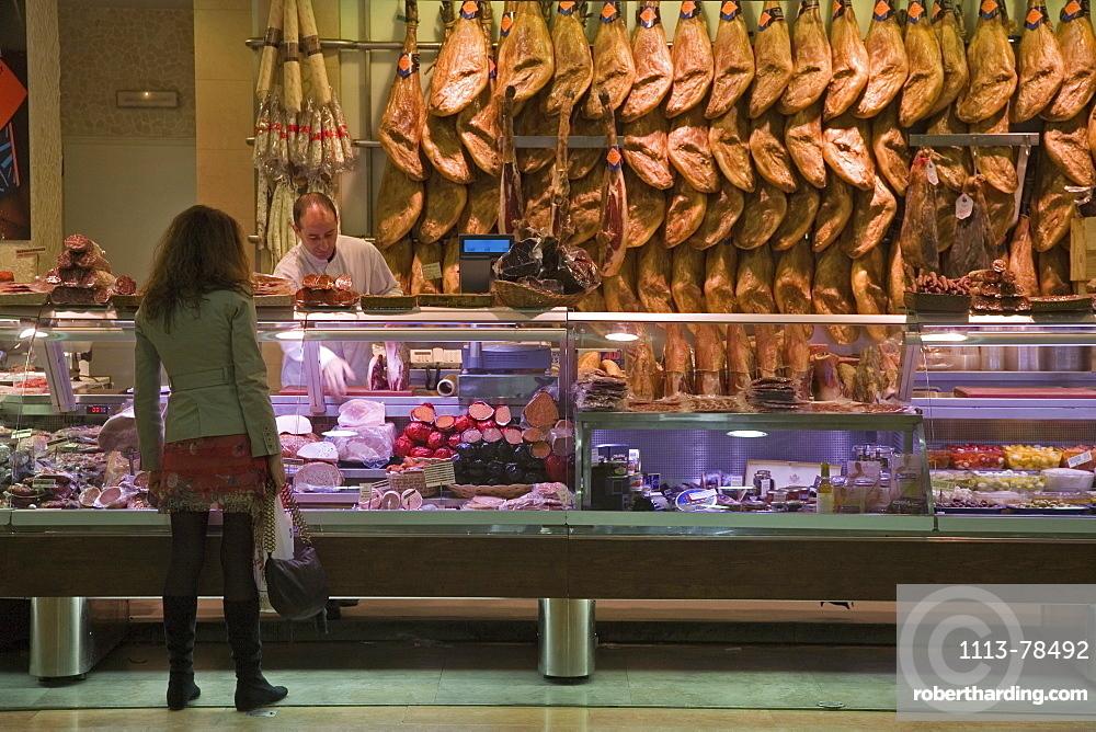Hams, cold meats, market, Valencia, | Stock Photo