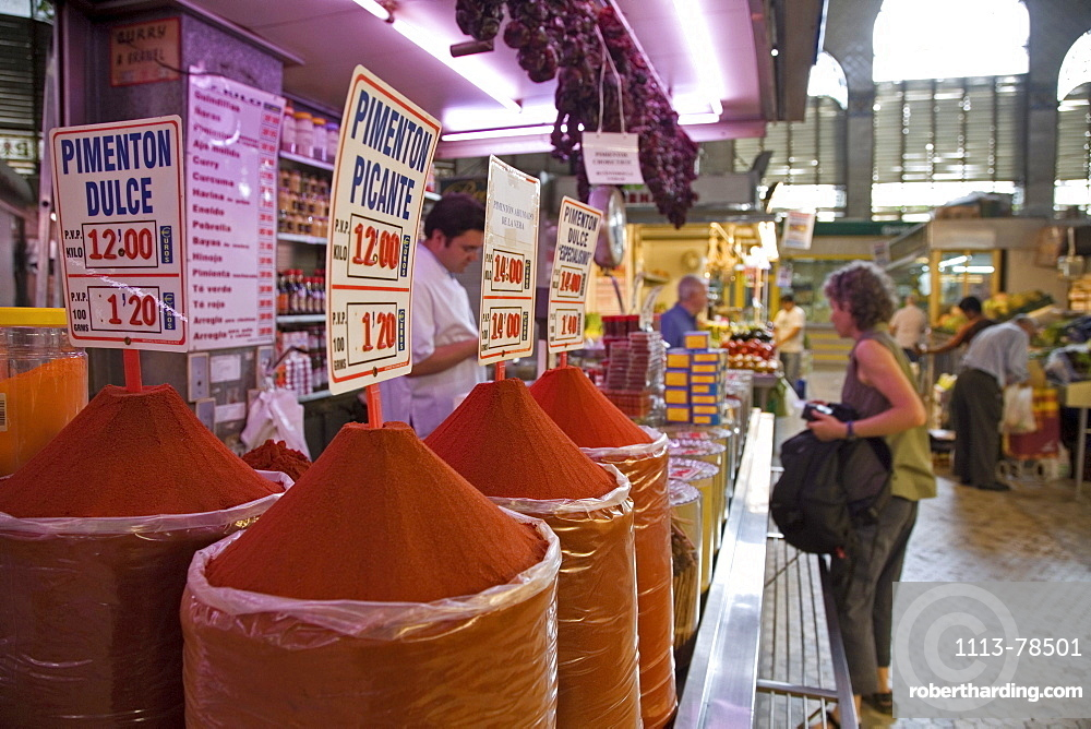 Mercado Central, central market, spice stand, Valencia, Spain