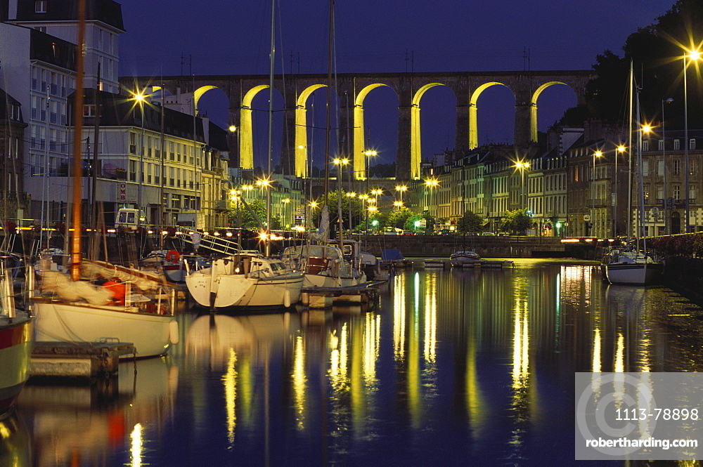 Morlaix at night with viaduct in the background, Bretagne, France