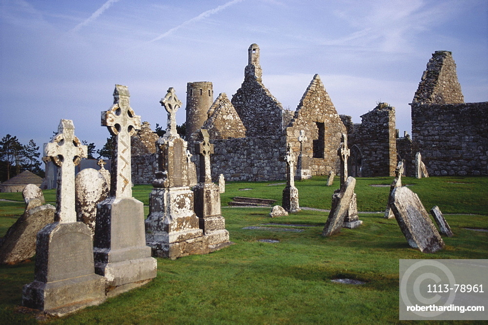 Monastery ruins of Clonmacnoise, Athlone. County Offaly, Republic of Ireland